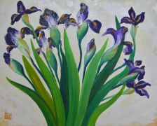 still life art,botanical art,oil painting,Irises
