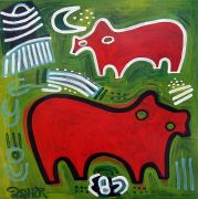 children's art,animals art,acrylic painting,Two Red Bears