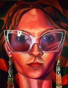 people art,oil painting,Self Portrait with Glasses