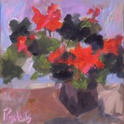still life art,botanical art,acrylic painting,Geraniums Squared