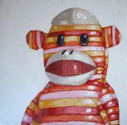 children's art,oil painting,Sock Monkey