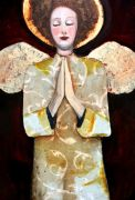 people art,religion art,mixed media artwork,Rosie Cheeked Angel