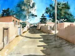Architecture art,watercolor painting,Upper Canyon Road