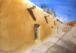 buildings art,watercolor painting,Canyon Road