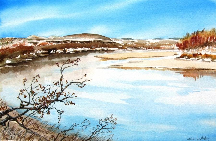 Original art for sale at UGallery.com | Rio Grande by Charles Ash | $450 | watercolor painting | 12' h x 18' w | http://www.ugallery.com/watercolor-painting-rio-grande