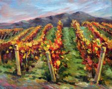 landscape art,nature art,oil painting,Vineyard Slopes