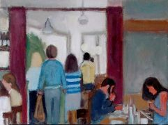People art,acrylic painting,Lunch at Juliette's