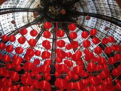 Architecture art,photography,Red Balloons in Galeries Lafayette
