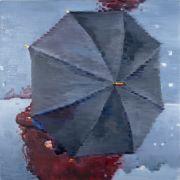 people art,oil painting,Aerial View of Black Umbrella in Paris