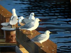 animals art,oil painting,Dock of the Bay