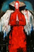 People art,Religion art,mixed media artwork,Tall Angel ( Red Cheeks)