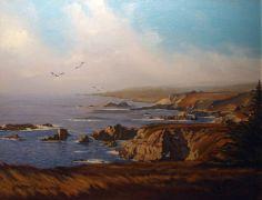 seascape art,oil painting,California Coast, Big Sur