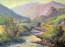 impressionism art,landscape art,oil painting,Evening in the Mountains