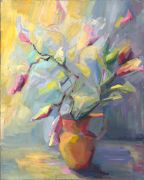 Flora art,oil painting,A Color Study of Lily Buds