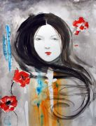 people art,watercolor painting,Poppies