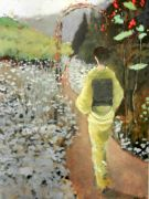 people art,oil painting,Geisha Walking