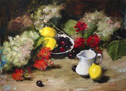 Still Life art,oil painting,Life's a Bowl of Cherries