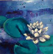nature art,oil painting,Waterlily: Blue