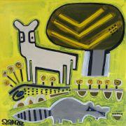 Children's art,Animals art,acrylic painting,Deer with Raccoon