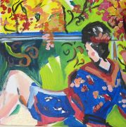 expressionism art,people art,acrylic painting,Study Of A Woman