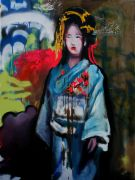people art,mixed media artwork,Geisha With Graffiti