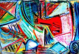 Abstract art,mixed media artwork,CrissCross