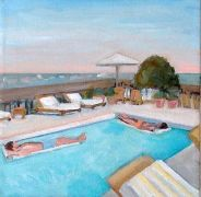people art,seascape art,acrylic painting,Rooftop Pool