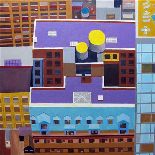 Original art for sale at UGallery.com | Midtown NYC Rooftop by TONI SILBER-DELERIVE | $3,525 | Acrylic painting | 30' h x 30' w | ..\art\acrylic-painting-Midtown-NYC-Rooftop