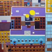 Architecture art,City art,acrylic painting,Midtown NYC Rooftop