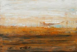 abstract art,landscape art,acrylic painting,Orange Horizon