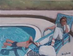impressionism art,people art,acrylic painting,At the Pool