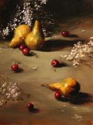still life art,oil painting,Pears and Cherries
