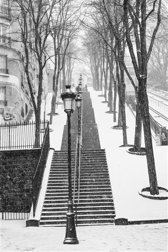 Original art for sale at UGallery.com | Montmartre Stairs in the Snow by Rebecca Plotnick | $225 | photography | 36' h x 24' w | ..\art\photography-Montmartre-Stairs-in-the-Snow