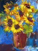 Still Life art,Flora art,oil painting,Leave the Blues Behind