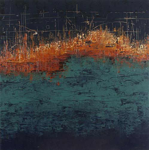 Original art for sale at UGallery.com | From the Water - Stone City Series by PATRICIA OBLACK | $4,425 |  | 36' h x 36' w | ..\art\acrylic-painting-From-the-Water-Stone-City-Series