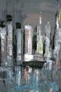 buildings art,city art,acrylic painting,Energy