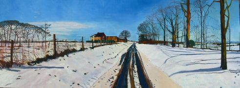 landscape art,acrylic painting,Winter's Path