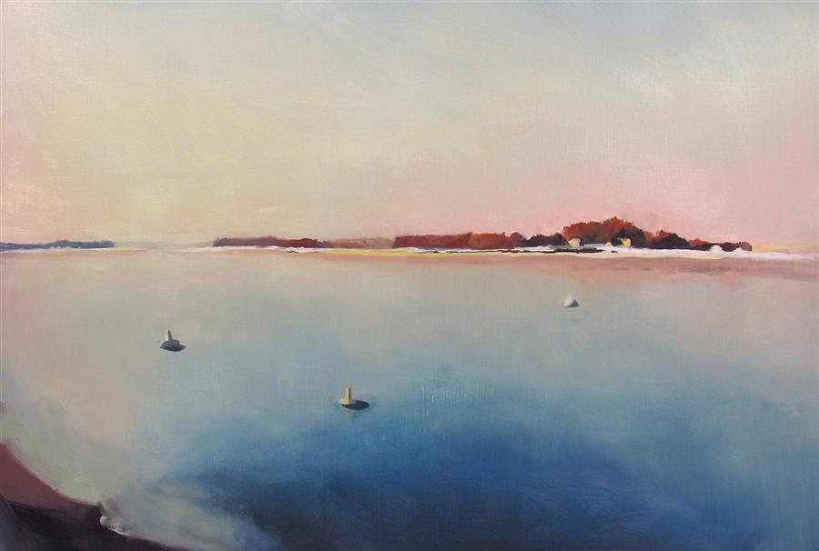 Original art for sale at UGallery.com | Winter Sunrise at Pine Point by JOHN PUIIA | $900 | Oil painting | 17' h x 24.5' w | ..\art\oil-painting-Winter-Sunrise-at-Pine-Point