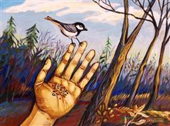 Animals art,Surrealism art,acrylic painting,Chickadee