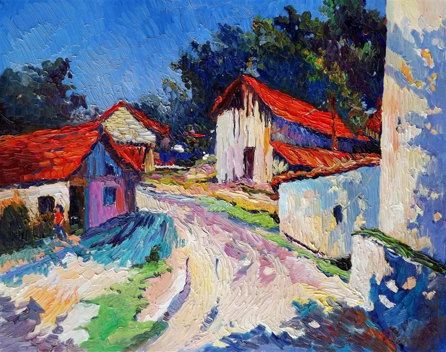 Original art for sale at UGallery.com | Sunny day, red roofs by SUREN NERSISYAN | $950 | Oil painting | 22' h x 28' w | ..\art\oil-painting-Sunny-day-red-roofs