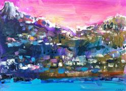 abstract art,landscape art,acrylic painting,Capri