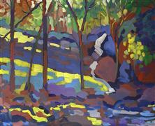 impressionism art,landscape art,acrylic painting,Stream and Rocks