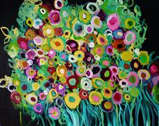 abstract art,botanical art,acrylic painting,Bloomsbury Eve