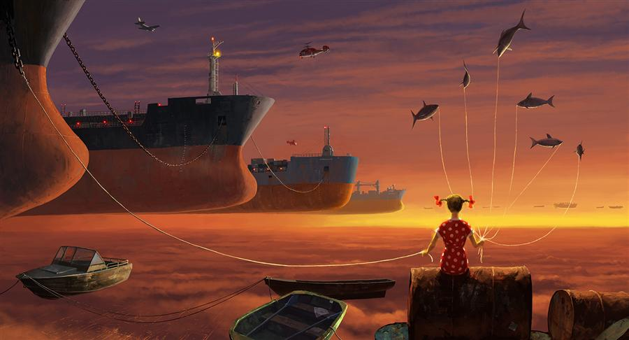Original art for sale at UGallery.com | Supercargo by Alex Andreev | $1,650 | digital printmaking | 27.6' h x 44.2' w | ..\art\printmaking-digital-Supercargo