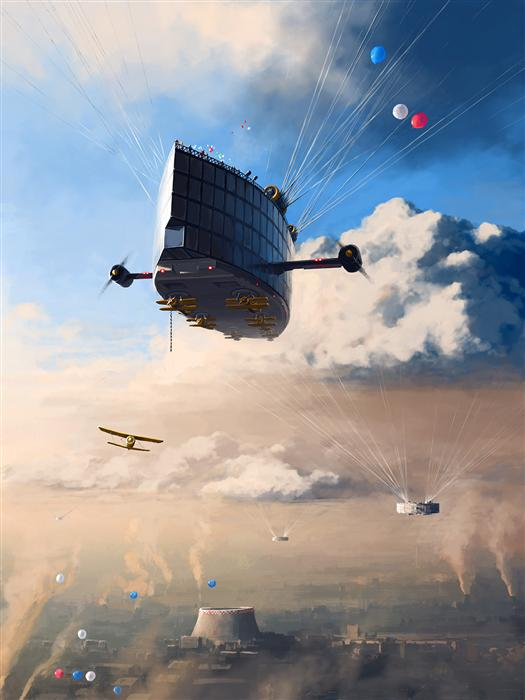 Original art for sale at UGallery.com | Under The Clouds by ALEX ANDREEV | $1,350 |  | 36.7' h x 27.6' w | ..\art\printmaking-digital-Under-The-Clouds