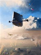 fantasy art,surrealism art,printmaking (digital),Under The Clouds