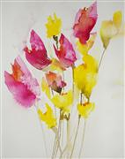 botanical art,watercolor painting,Daffodils and Tulips II