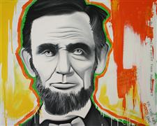 people art,pop culture art,oil painting,Lincoln