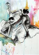 Expressionism art,People art,mixed media artwork,Trois
