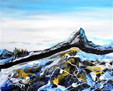 Landscape art,acrylic painting,Mountain Top